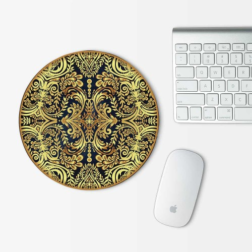 Golden Floral  Mandala Mouse Pad Round