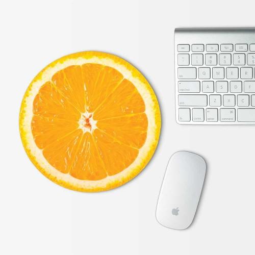 Orange Cut In Half Mouse Pad Round
