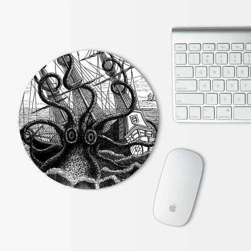 Octopus Attacking Ship Mouse Pad Round
