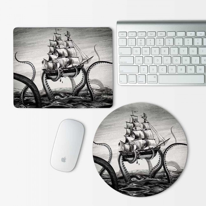 Octopus Attacking Ship v.2 Mouse Pad Round or Rectangle (MP-0114)