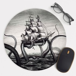 Octopus Attacking Ship v.2 Mouse Pad Round or Rectangle
