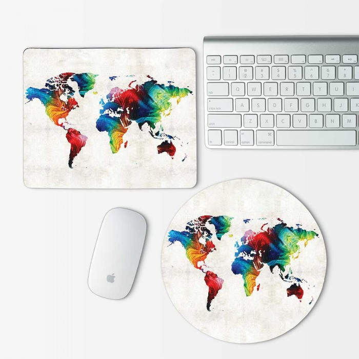 Colorful World Map Mouse Pad Round Or Rectangle