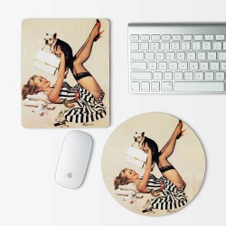 Pin up Girl and Dog Mouse Pad Round or Rectangle