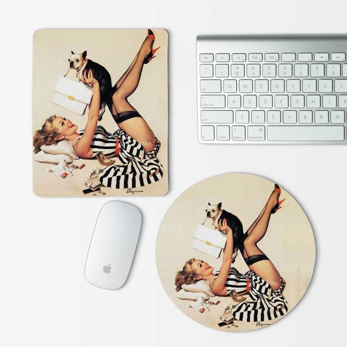 Pin up Girl and Dog Mouse Pad Round or Rectangle (MP-0127)