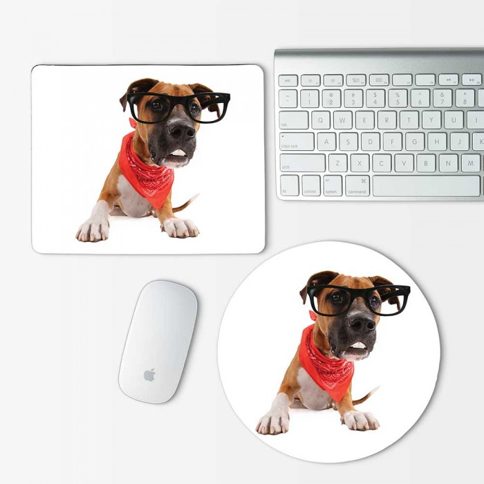 Boxer Pit Bull mixed funny dog Mouse Pad Round or Rectangle (MP-0133)