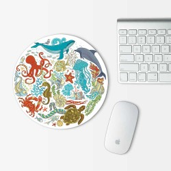 Sea Animal Summer ocean Mouse Pad Round