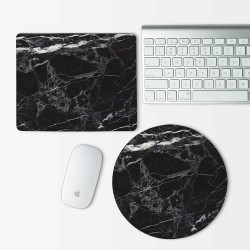 Black Marble Mouse Pad Round or Rectangle
