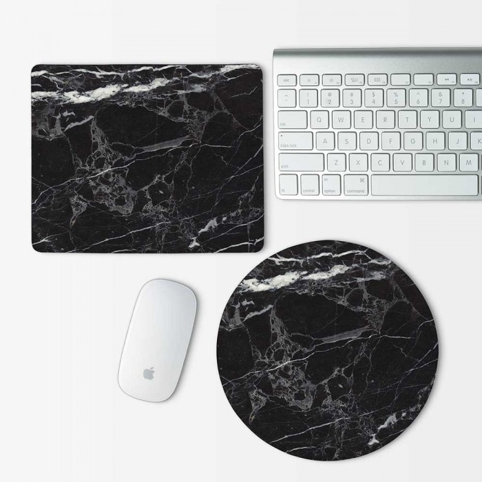 Black Marble Mouse Pad Round or Rectangle (MP-0149)