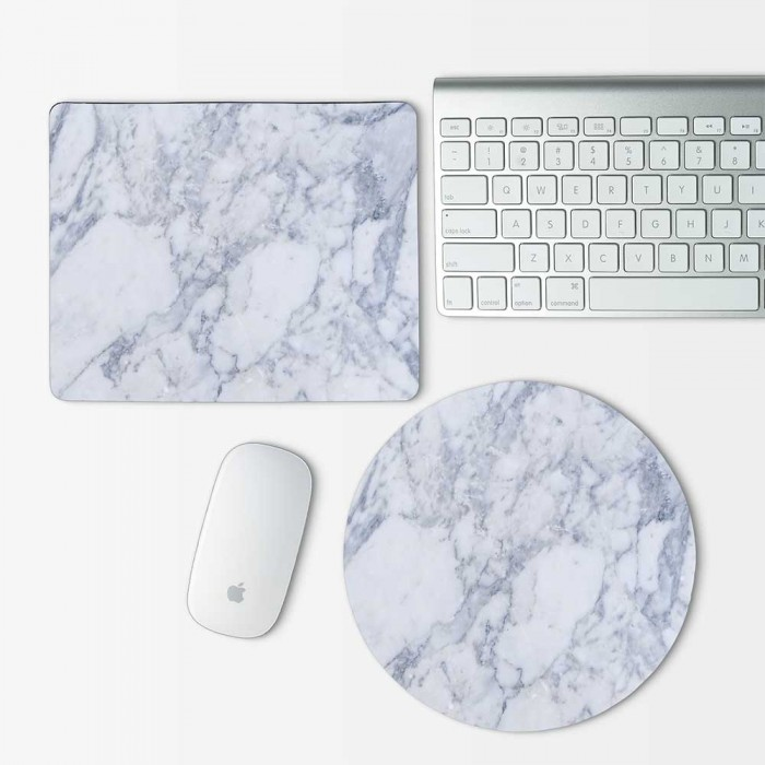 White Marble  Mouse Pad Round or Rectangle (MP-0150)