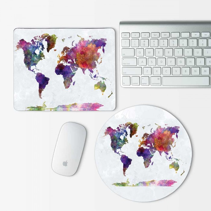 watercolor World map  Mouse Pad Round or Rectangle (MP-0153)