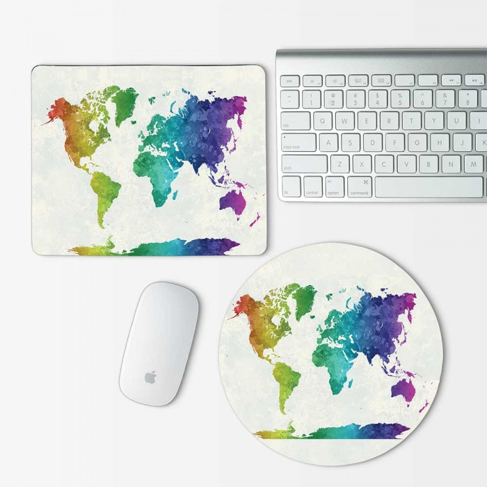 Rainbow watercolor World map Mouse Pad Round or Rectangle (MP-0154)