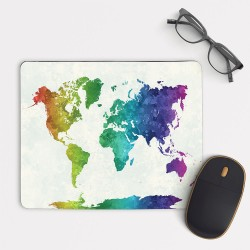 Rainbow watercolor World map Mouse Pad Round or Rectangle